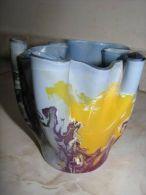 Vintage MULTI COLOR Handkerchief FAZZOLETTO Art Glass VASE Israel - Glass & Crystal