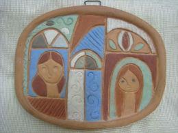 Women ~ Israeli Art Ceramic Picture Signed - Ceramics & Pottery