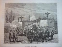 Fusillade Du Champ De Mars , Gravure De Meaulle D'aprés Dessin De Feray De Circa 1887 - Historische Documenten