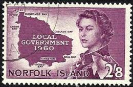 NORFOLK ISLAND SELF GOVERNMENT PURPLE QEII HEAD SET OF 1 STAMP 2/8 ISSUED 1960 USEDLH SG40 READ DESCRIPTION !! - Ile Norfolk