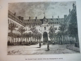 Les Quinze Vingts , Ancien Hotel Des Mousquetaires Noirs , Gravure De Quesnel Dessin De Clerget De Circa 1887 - Documenti Storici