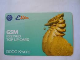 Myanmar Birmanie Burma Birma Hinta (bird) Elite Tech 5000 Kyats Mobile GSM Prepaid TOP UP Card EXP: 21.06.2013