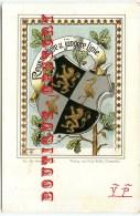 ILLUSTRATEUR ALLEMAND  PAUL KOHL  CHEMNITZ - Ecusson Lion Et Flamand Rose - Blason Héraldique - Dos Scanné - Autres Illustrateurs
