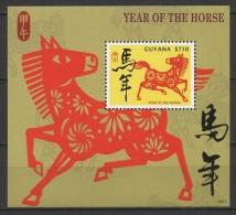 Guyana (2014) - Block -  /  Chinese New Year - Horse - Pferde - Cheval - Chinees Nieuwjaar
