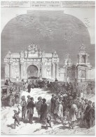 GRAVURE D Epoque  1877  Ouverture Du Parlement Turc Turquie   Arrivée Des Deputés   Porte DOLMA  BACKTCHE - Old Paper