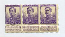 1912 BELGIQUE, PELLENS 2 FR COB 117, Bande De 3, **  MNH Cote 135 € - 1912 Pellens