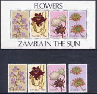 ZAMBIA 1983 Wild Flowers Set Of 4 Values + Block MNH / **.  SG 383-87 - Zambia (1965-...)