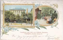 Leipzig R Dresdner Straße 27 Conditorei Cafe W Biermann Color Litho 20.6.1910 Gelaufen - Leipzig