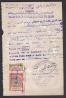 IRAN 1957 Shah Period Old Revenue Visa 2 Stamps + One IRAQ On Back Side Of Passport Page Of GB - Irán