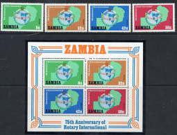 ZAMBIA 1980 Rotary International Set Of 4 Values + Block MNH / **.  SG 306-10 - Zambia (1965-...)