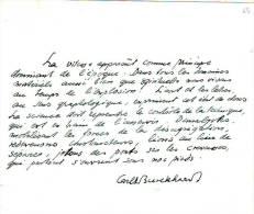 Carl BURCKHARDT (1891-1974) Pensée  Manuscrite Sur La Vitesse ,principe Dominant De Notre Epoque - Manuscrits