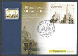 Italy. Scott # 3046 FDC S/sheet Maxicard. 150th. Anniv. Of Unity Of Italy. Joint Issue With San Marino 2011 - Emissioni Congiunte