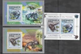 CHAD,MNH, 2013, MAMMALS, OTTERS, MANATEES, 2 DELUXE S/SHEETS + S/SHEET. - Marine Mammals