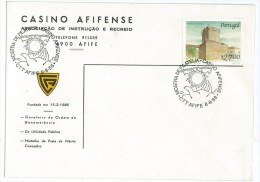 Portugal - Afifense Casino - Sun And Hand - Afife  8-8-88 - Chaves Castle Stamp - Giochi