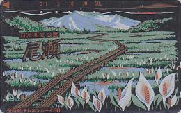 Télécarte Japon LAQUE & OR - Montagne & Champ De Fleurs - Mountain  LACK & GOLD Japan Phonecard Telefonkarte - 159 - Montagnes