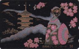 Télécarte Japon LAQUE & OR - Pagode & Geisha - LACK & GOLD Japan Phonecard - Tempel Telefonkarte - 161 - Paysages