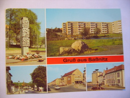 """Germany: Gruß Aus Saßnitz - Stele, Neustadt, Stubnitz-Lichtspiele, Seemannsheim """"John Schehr"""" - 1980's Unused - Sassnitz"""