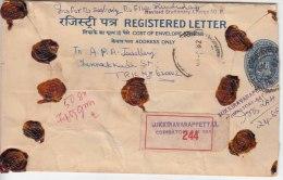 Used Registered Letter + Revised Stationery Charge 0.50, PSE,  India Postal Envelope,  Gold Jewels, Mineral,  As Scan - Sobres