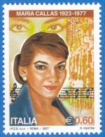 ITALY 2007,  Maria Callas, Opera Turandor MNH(**) From Sheetlet - 1946-.. Republiek