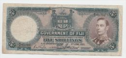 Fiji 5 Shillings 1951 F+ P 37k 37 K - Fidji