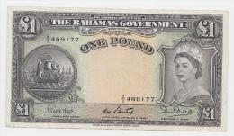 Bahamas 1 Pound 1953 VF++ Crispy  RARE Banknote P 15b  15b - Bahamas