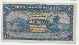 TRINIDAD & TOBAGO 1 Dollar 1939 VF++ Banknote P 5b 5 B - Trinidad & Tobago