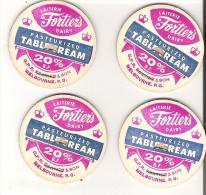 """4 Milk Bottle Caps Laitier Fortier's Dairy Melbourne, Quebec  Richmond Pasteurized Table Cream Diameter 1.6""""  4.2 Cm - Opercules De Lait"""
