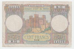 Morocco 100 Francs 9-1- 1950 AVF Banknote P 45 - Marocco