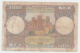 "Morocco 100 Francs 9-1- 1950 ""F"" Banknote P 45 - Morocco"