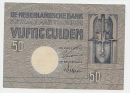 "Netherlands 50 Gulden 1929 VF++ P 47 ""Jac. Jongert"" RARE - [2] 1815-… : Reino De Países Bajos"