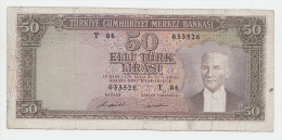 "Turkey 50 Lire Banknote 1970 (1971) ""F"" Pick 187A - Turchia"