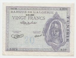 Tunisia 20 Francs 1943 VF+ P 17 - Tunisia