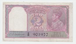 India 2 Rupees 1943 VF+ (2 Staple Holes) P 17b - India