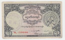 BURMA 1 RUPEE 1948 AVF P 34 - Myanmar
