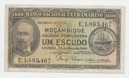 MOZAMBIQUE PORTUGAL 1 ESCUDO 1944 VF+ P 92 - Mozambique