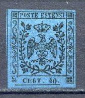 ITALIA ANTICHI STATI - MODENA 1855 40c.AZZURRO SCURO N°10c--6 INVECE DI N - Modena