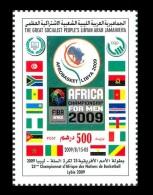 LIBYA 2009 MNH AFRICA CHAMPIONSHIP MEN BASKETBALL MAP FLAGS SOUTH AFRICA TUNISIA MOROCCO GHANA EGYPT ANGOLA IVORY COAST - Libyen