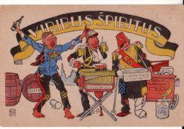 Karikatur   1918   ------  Sultan V. Mehmed Resad  +  Kaiser Karl I. + Kaiser  Wilhelm II. - Turquie