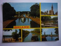 Briare ( 45 ) Le Pont Canal-l'eglise-l'entrée Du Square De L'hotel De Ville-la Plage De Beauget-le Canal- - Briare