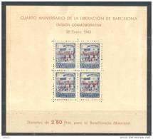 BCN54-L3637TAN.España.Esp Agne.EspagneLIBERACION   DE BARCELONA.Beneficencia.19 43.(Ed 54**) Sin Charnela .MAGNIFICA - 1931-Hoy: 2ª República - ... Juan Carlos I