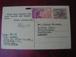 == Indien Karte Tata Oil 1951 - Ganzsachen