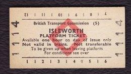 Railway Platform Ticket ISLEWORTH BTC(S) Red Diamond Edmondson - Railway