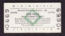 Railway Platform Ticket ASH VALE BRB(S) Green Diamond Edmondson - Railway