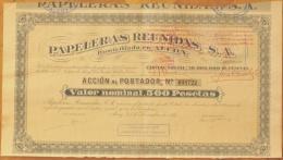 1934-PAPELERAS REUNIDAS. ALCOY. ALICANTE. ESPAÑA- ACCIÓN  DEL AÑO 1934 - Industrial