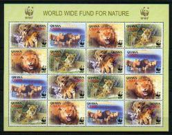 "WWF - Ghana - Mi.Nr. 3701 / 3704 - ""Löwe"" (4-er Kleinbogen / 4 Set Mini Sheet) ** - W.W.F."