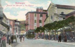 [DC6627] VENTIMIGLIA (IMPERIA) - PIAZZA DEL MERCATO E VIA CAVOUR - Old Postcard - Imperia