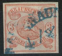 Braunschweig Auf 3 Sgr. Orangerot - Braunschweig Nr. 3 Mit Abart - Pracht - Braunschweig