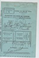 01440a Doc. Chemin De Fer De L´Etat Belge Transport Des Fonds Et Valeurs C. Chimay Hexagonal 1890 - Railway