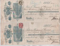 01474a 2 Reçus Bruxelles C. Quittances-dépôt 1909 D´E. Lefebvre C. Charleroi & Philippeville - 1905 Grosse Barbe
