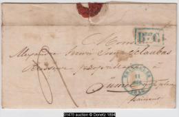 """01475a Bruxelles 1846 (11/déc) + Encad.""""Beau C"""" V. Jumet à Un Brasseur Brasserie Mr. Sclaubas C. Arrivée Charleroi - 1830-1849 (Belgique Indépendante)"""